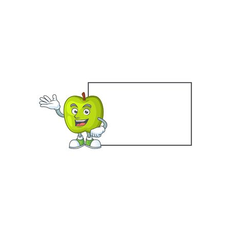 Hand up with board granny smith in a green apple character mascot Illustration