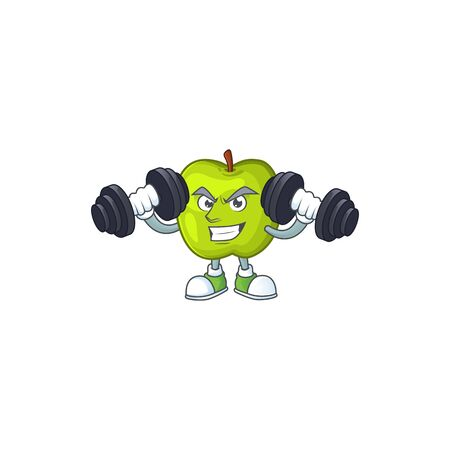 Fitness granny smith in a green apple character mascot