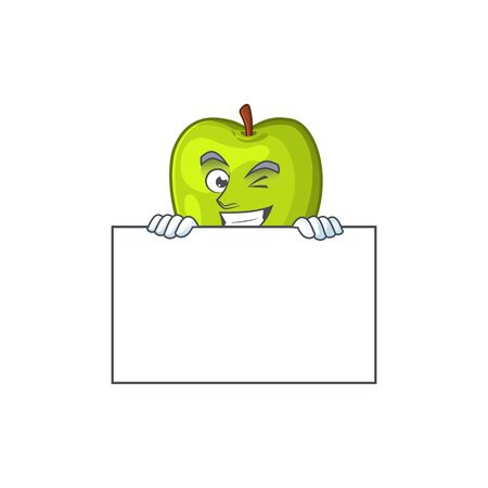 Grinning with board granny smith in a green apple character mascot