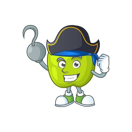 Pirate granny smith in a green apple character mascot Illusztráció