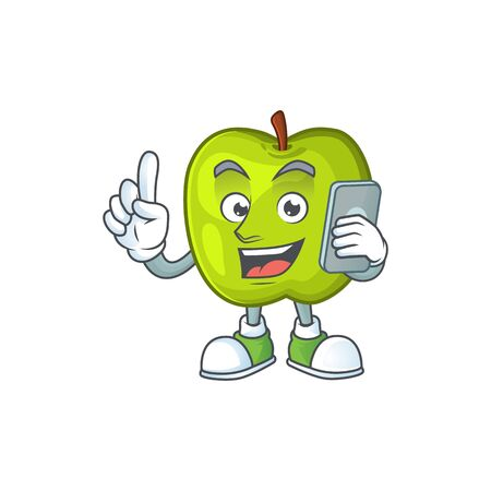 With phone granny smith in a green apple character mascot