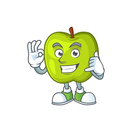 Call me granny smith apple character for health mascot Çizim