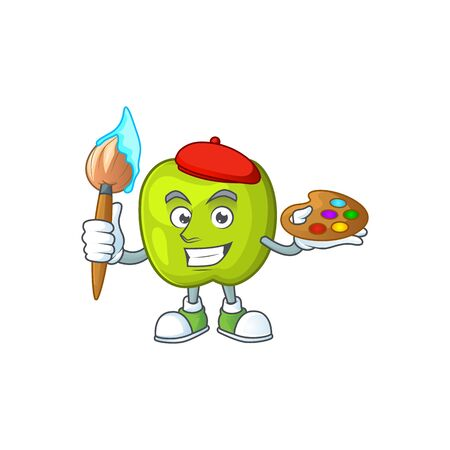 Painter granny smith in a green apple character mascot vector illustration