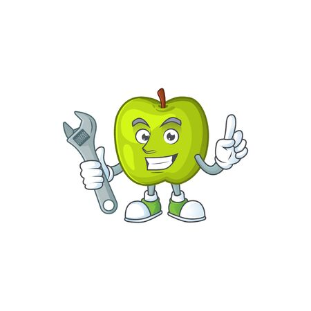 Mechanic granny smith apple character for health mascot Foto de archivo - 129793364