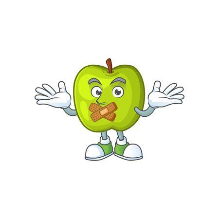 Silent granny smith apple character for health mascot Çizim