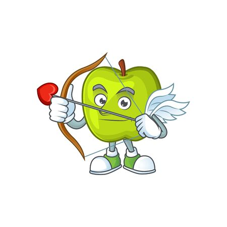 Cupid granny smith in a green apple character mascot Illusztráció