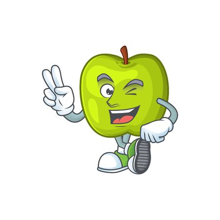 Two finger character granny smith green apple with mascot