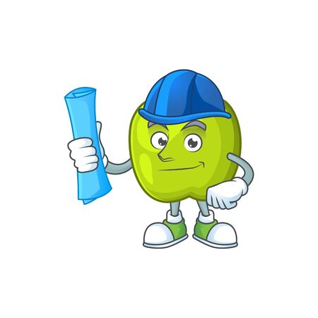 Architect character granny smith green apple with mascot
