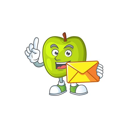 With envelope character granny smith green apple with mascot Stock Illustratie