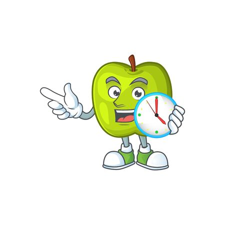 With clock character granny smith green apple with mascot Ilustração