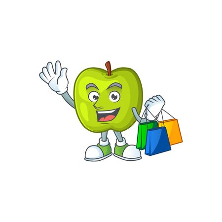 Shopping character granny smith green apple with mascot