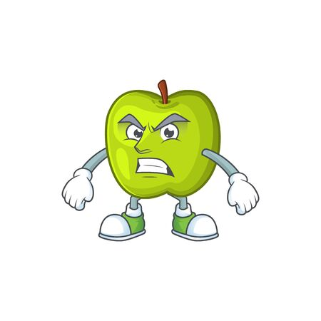 Angry character granny smith green apple with mascot