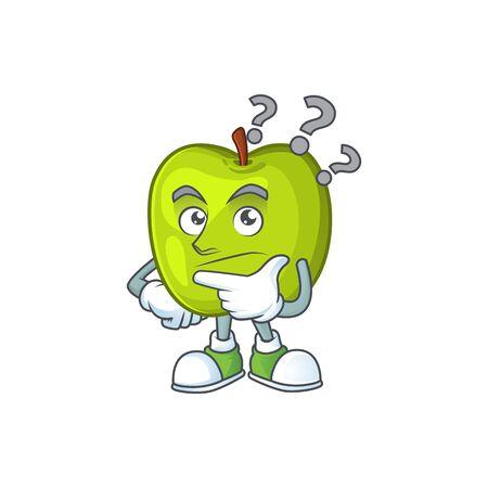Thinking granny smith green apple cartoon mascot