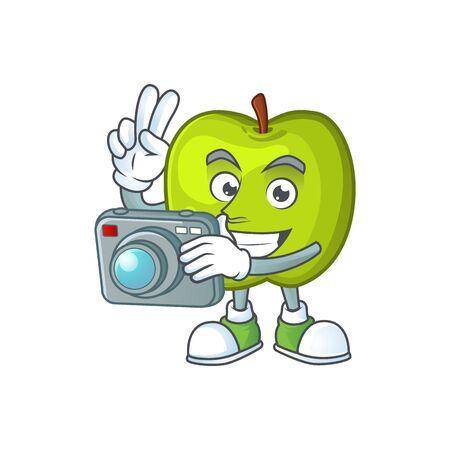 Photographer granny smith green apple cartoon mascot 스톡 콘텐츠 - 129793473