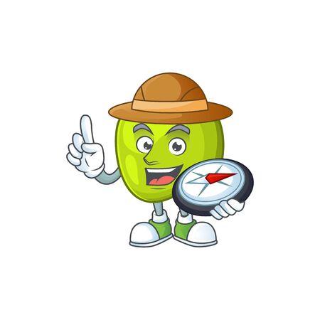 Explorer granny smith green apple cartoon mascot