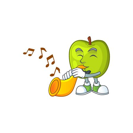 With trumpet granny smith green apple cartoon mascot