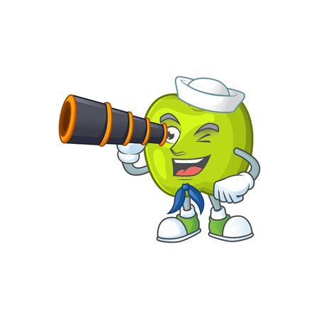 Sailor with binocular granny smith green apple cartoon mascot Illusztráció