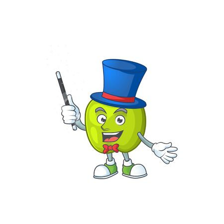 Magician granny smith apple character for health mascot