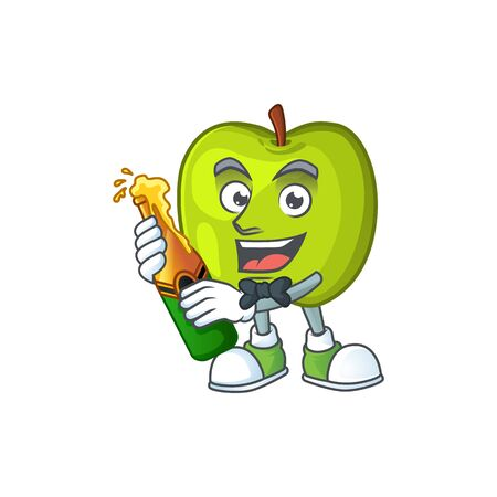 With beer granny smith apple character for health mascot