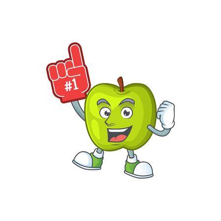 Foam finger granny smith apple character for health mascot