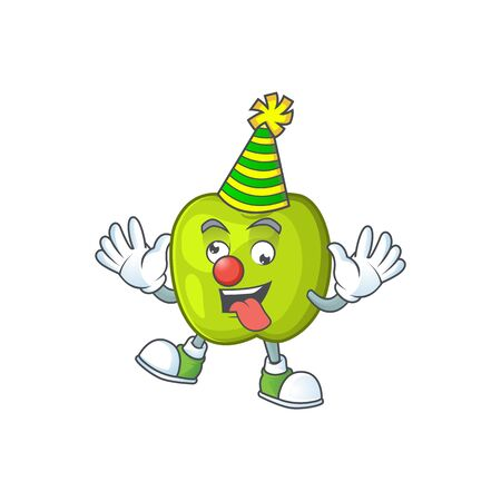 Clown granny smith apple character for health mascot