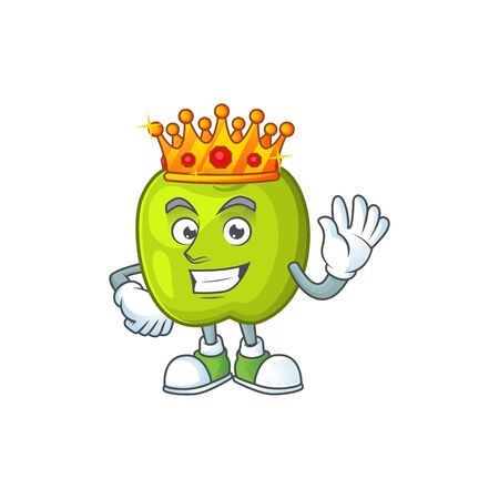 King granny smith apple character for health mascot