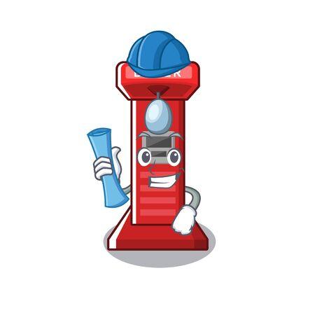 Architect boxing game machine on the cartoon vector illustration Zdjęcie Seryjne - 129326452
