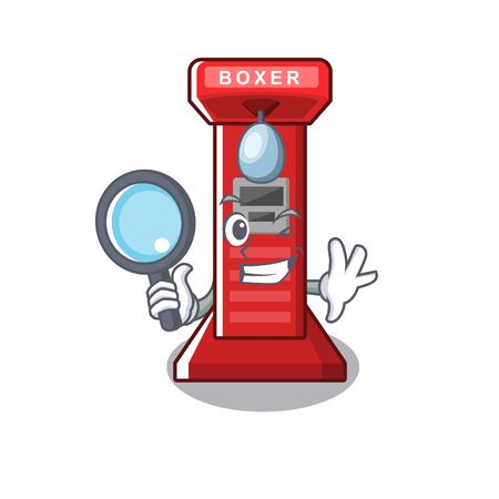 Detective boxing game machine on the cartoon vector illustration