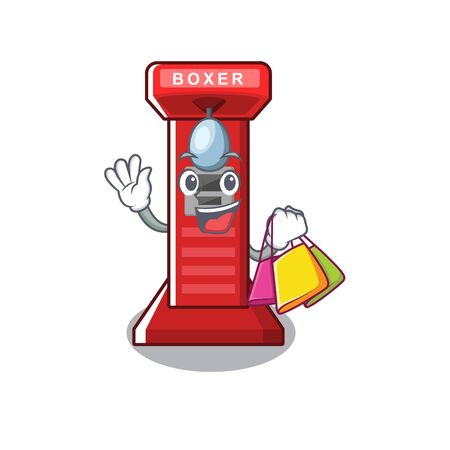 Shopping boxing game machine on the cartoon vector illustration
