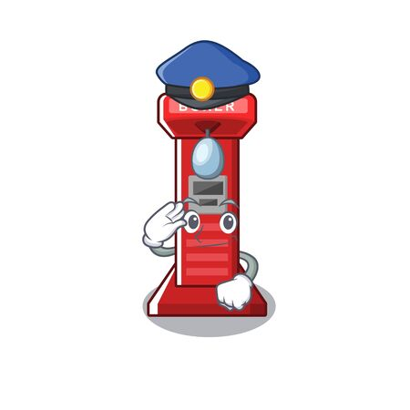 Police boxing game machine isolated the mascot vector illustration