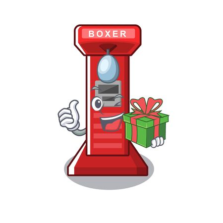 With gift boxing game machine in the character vector illustration