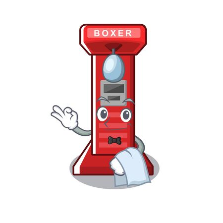 Waiter boxing game machine in the character vector illustration