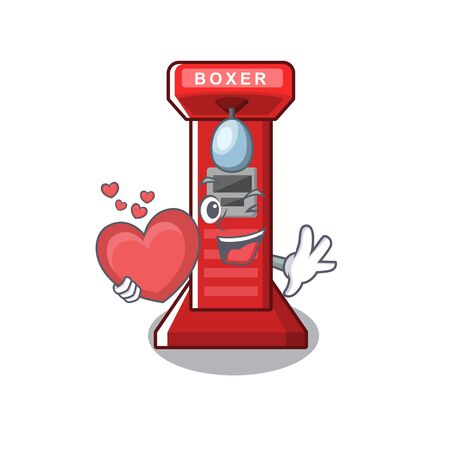 With heart boxing game machine in the character vector illustration Иллюстрация