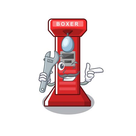 Mechanic boxing game machine in cartoon shape vector illustration