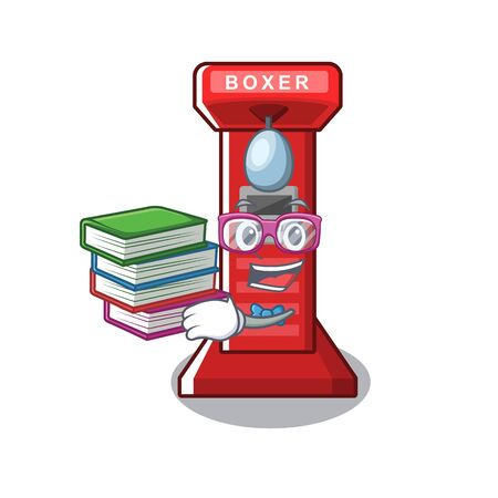 Student with book boxing game machine in cartoon shape vector illustration