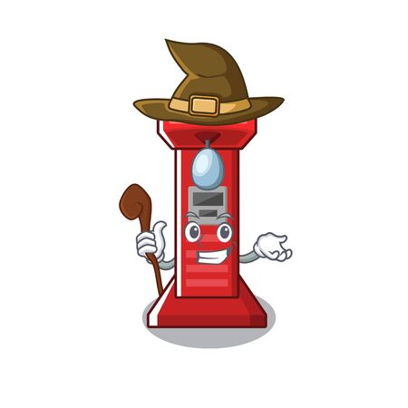 Witch boxing game machine in the character vector illustration