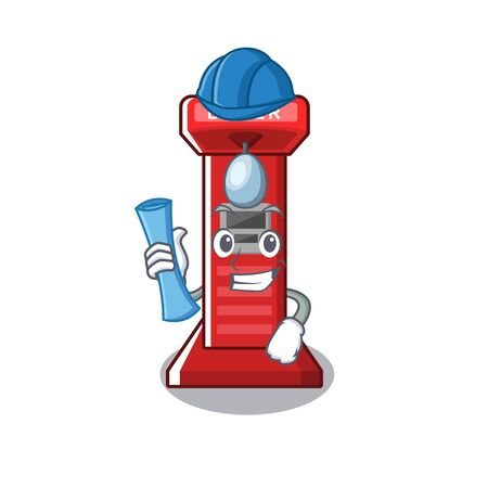 Architect boxing game machine on the cartoon vector illustration Illustration