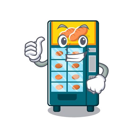 Thumbs up bakery vending machine in character shape vector illustration