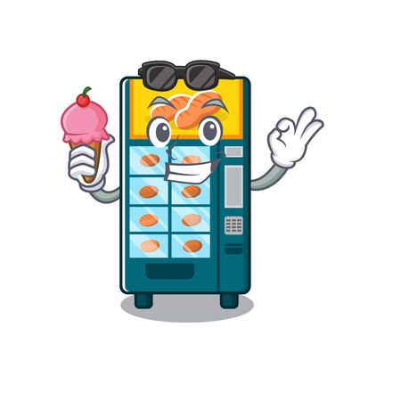 With ice cream bakery vending machine in character shape vector illustration