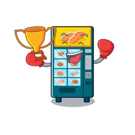 Boxing winner bakery vending machine in the cartoon vector illustration Zdjęcie Seryjne - 129311832