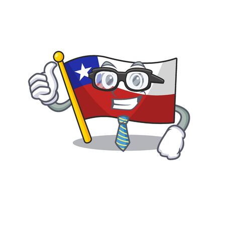 Businessman flag chile isolated with the cartoon vector illustration Vectores
