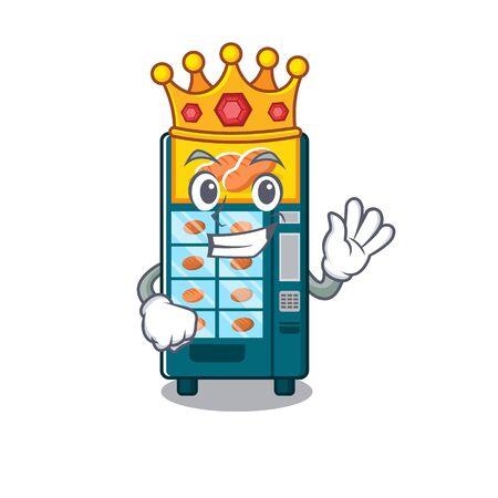 King bakery vending machine in the cartoon vector illustration Ilustracja