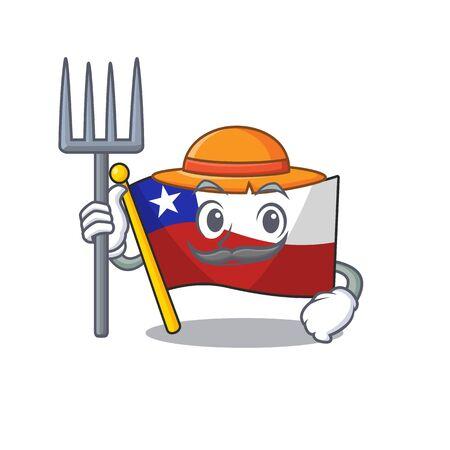 Farmer flag chile cartoon in character shape vector illustration 일러스트