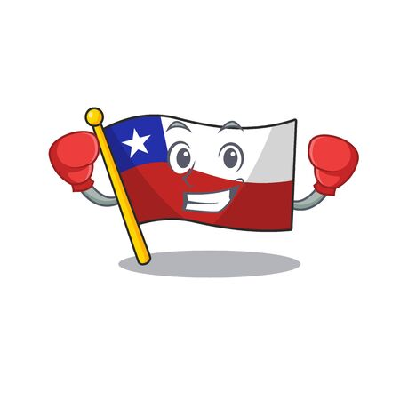 Boxing flag chile cartoon in character shape vector illustration
