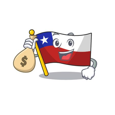 With money bag flag chile cartoon in character shape vector illustration