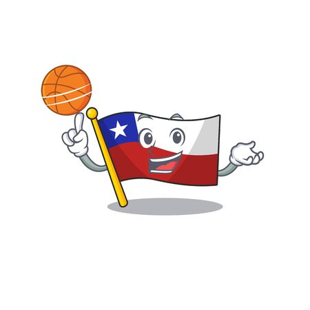 With basketball flag chile cartoon in character shape vector illustration