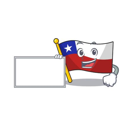 With board flag chile cartoon in character shape vector illustration 일러스트