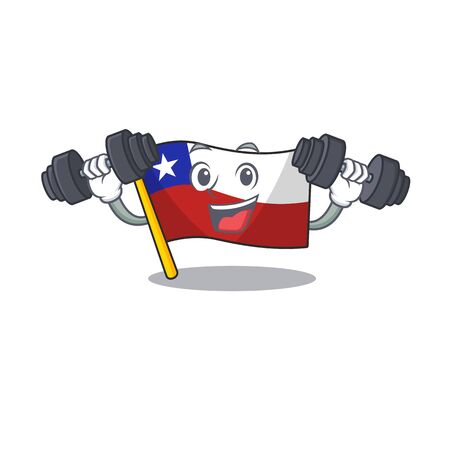 Fitness flag chile cartoon in character shape vector illustration
