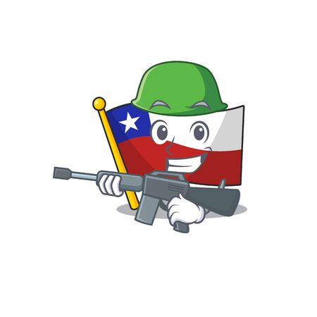 Army flag chile cartoon in character shape vector illustration