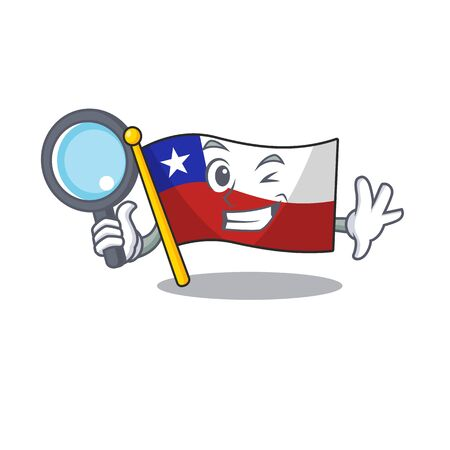 Detective flag chile isolated with the cartoon vector illustration